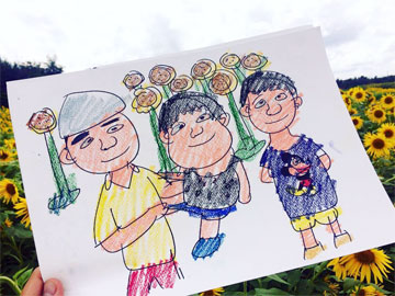 八米スケッチブックで、家族の絵
